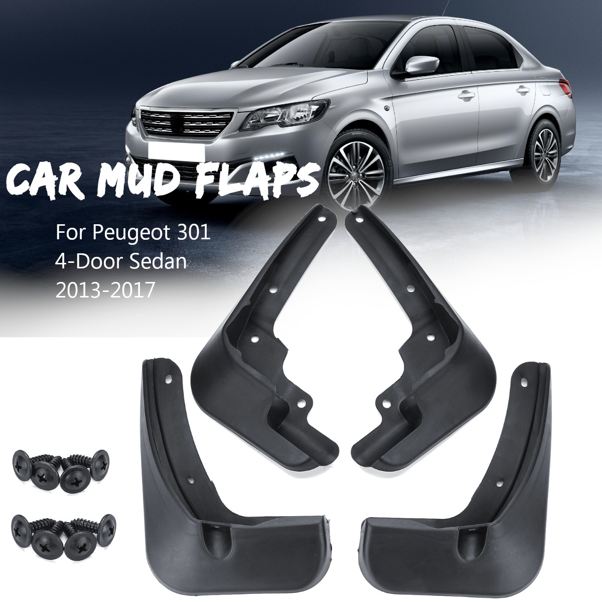 4PCS Black Front Rear Splash Guard Mud Flaps For 2018 Honda Accord 4-DR Sedan