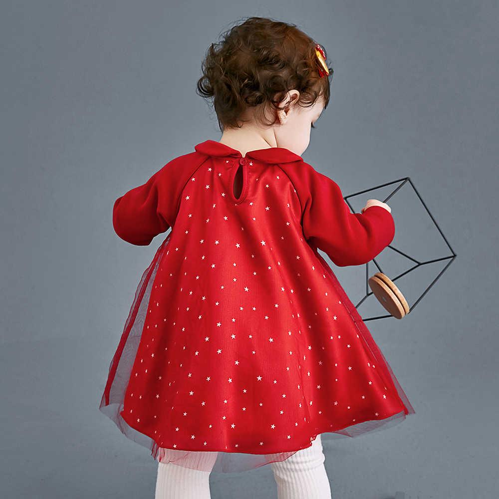 Mini vestido de tul de bebé Balabala princesa niños niñas dulce encantadora mezcla-tela impresa vestido de fiesta vestido de boda largo mangas