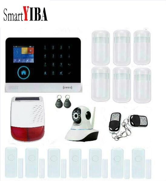 SmartYIBA 2G 433 MHz sans fil noir GSM & WIFI bricolage Smart Home sécurité systèmes d'alarme Kits infrarouge capteur de mouvement porte magnétisme