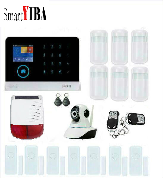 SmartYIBA 2G 433MHz Wireless Black GSM&WIFI DIY Smart Home Security Alarm Systems Kits Infrared Motion Sensor Door Magnetism