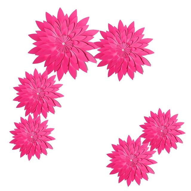 HAOCHU 6pcs Rose Red Handmade Paper Flowers DIY Craft Rustic Vintage Wedding Christmas Decoration Kids Birthday