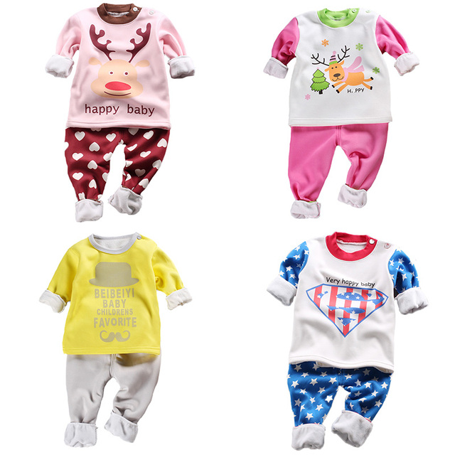 Plus Velvet Thickening Baby Girls Clothing Set Cotton Long Sleeve Pullover Top+Pants 2Pcs Baby Boy Clothes Newborn Baby Clothes