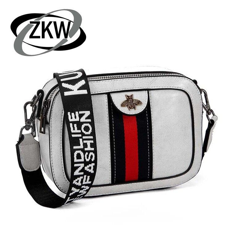 ZKW Genuine Leather Fashion Handbag 2019 Crossbody Bags For Women  Bag Shoulder Strap Mini Square Bag