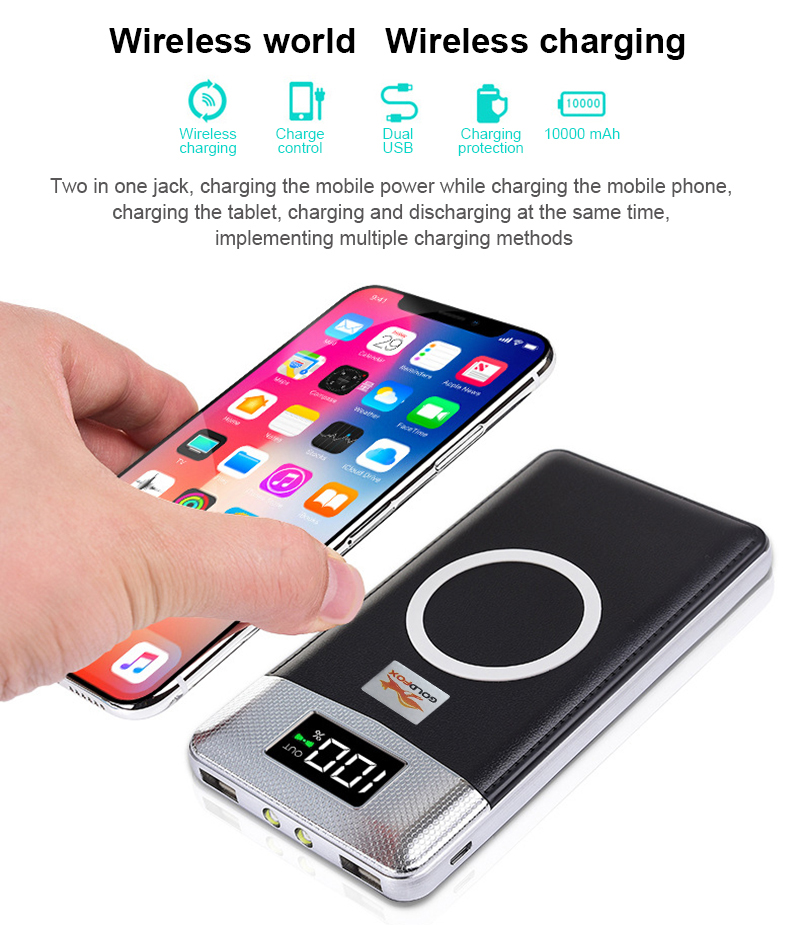 10000mah External Battery USB LCD Power Bank Qi Wireless Charger Powerbank For iPhone 8 X Samsung S8 Note 8 S6 Mobile Charger
