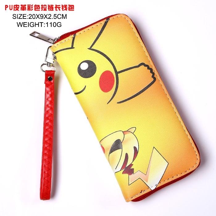 Japan anime Pocket  Monster Pokemon pikachu wallet Cosplay Long Leather PU Zipper Purse