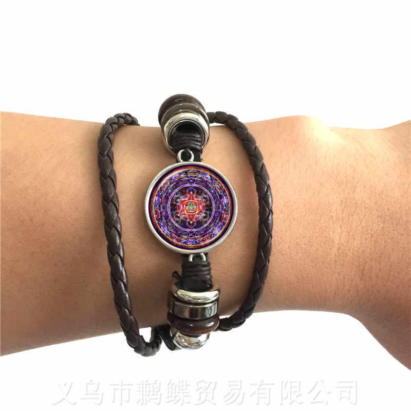 OM יוגה קלאסי צמיד מנדלה פרח של חיים קרושון זכוכית שחור/חום 2 צבע חוטי עור Adjustbale צמיד מתנה