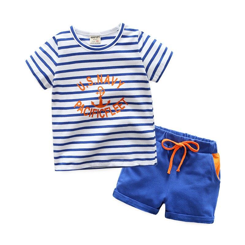 Children's summer suit boy's short-sleeved striped suit boys clothes baby boy clothes boy summer two pieces set