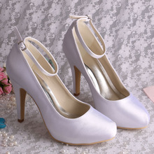 Wedopus MW156 Ankle Strap Pump Women Shoes White Satin Heels Dropshipping