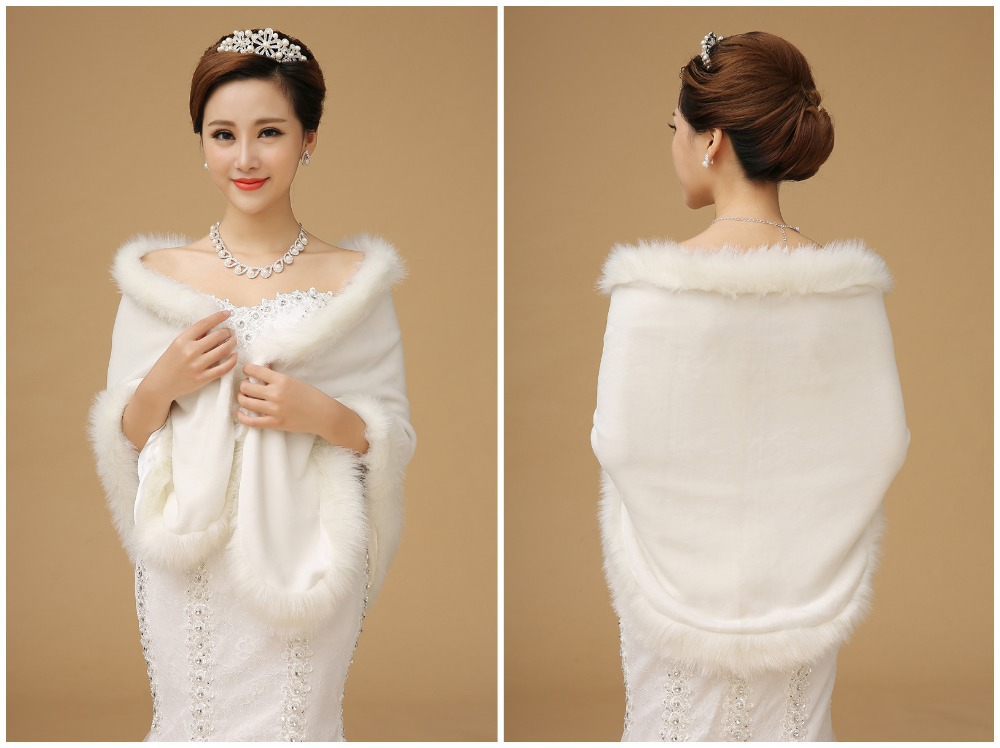Top quality 2015 wedding dress shrugs fur trim cape white for Fur shrug for wedding dress
