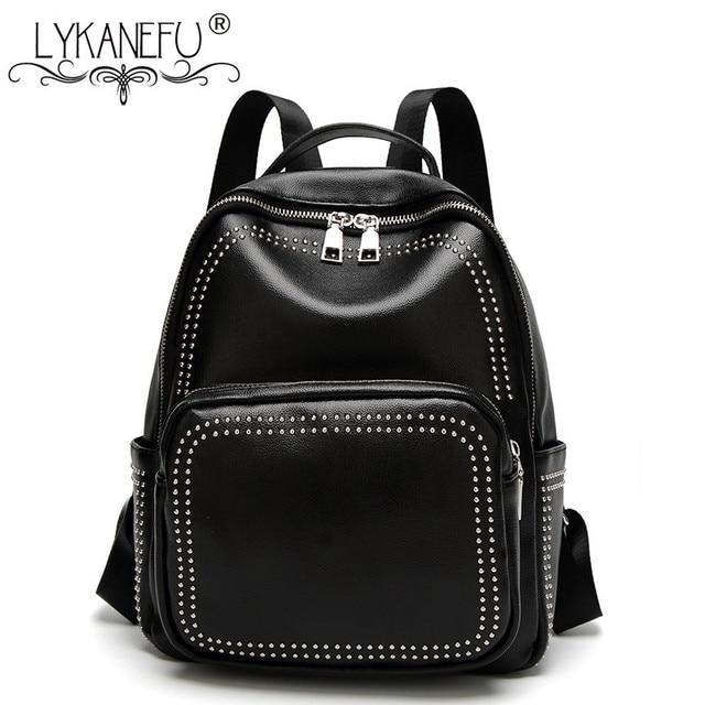 Aliexpress.com : Buy LYKANEFU Casual Black Backpack Women Leather ...