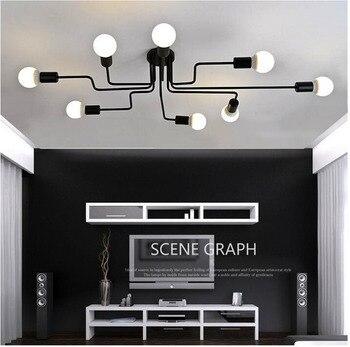 Vintage industriel lustre LED rétro cage lampe E27 lustre restaurant bar en fer forgé lampe 4/6/8 lustre