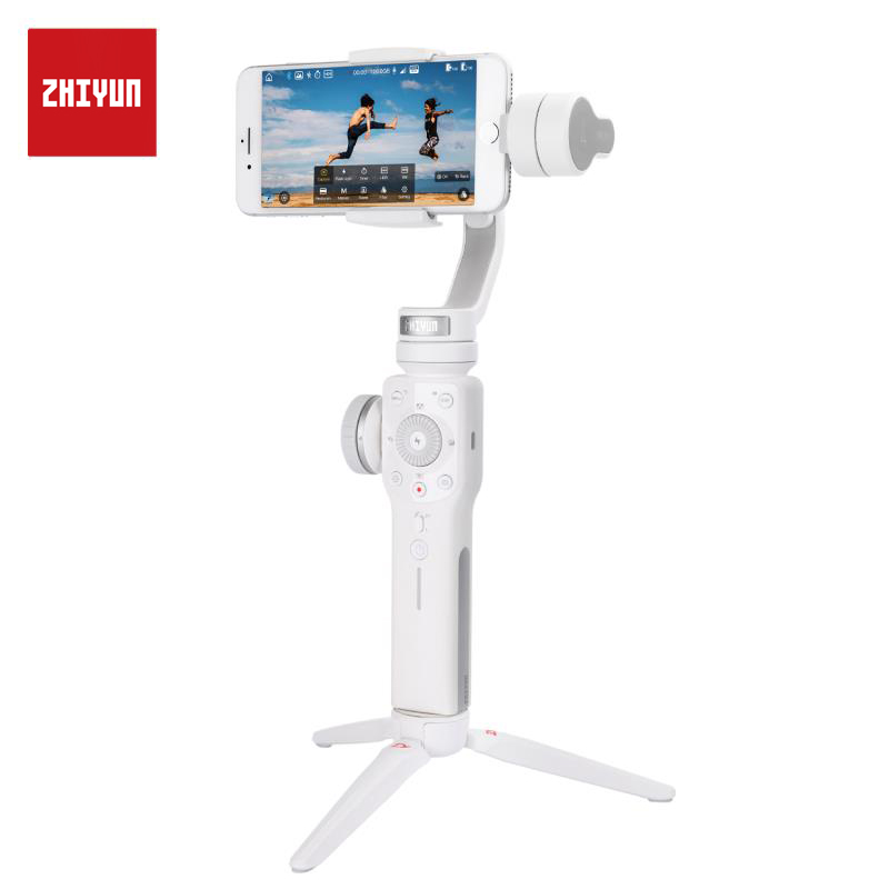 ZHIYUN Official Smooth 4 3 Axis Gimbal Stabilizer for iPhone XS Max XR 8 plus Gopro Hero 5 SJCAM SJ7 Xiaomi Yi 4k action camera-in Handheld Gimbals from Consumer Electronics    1