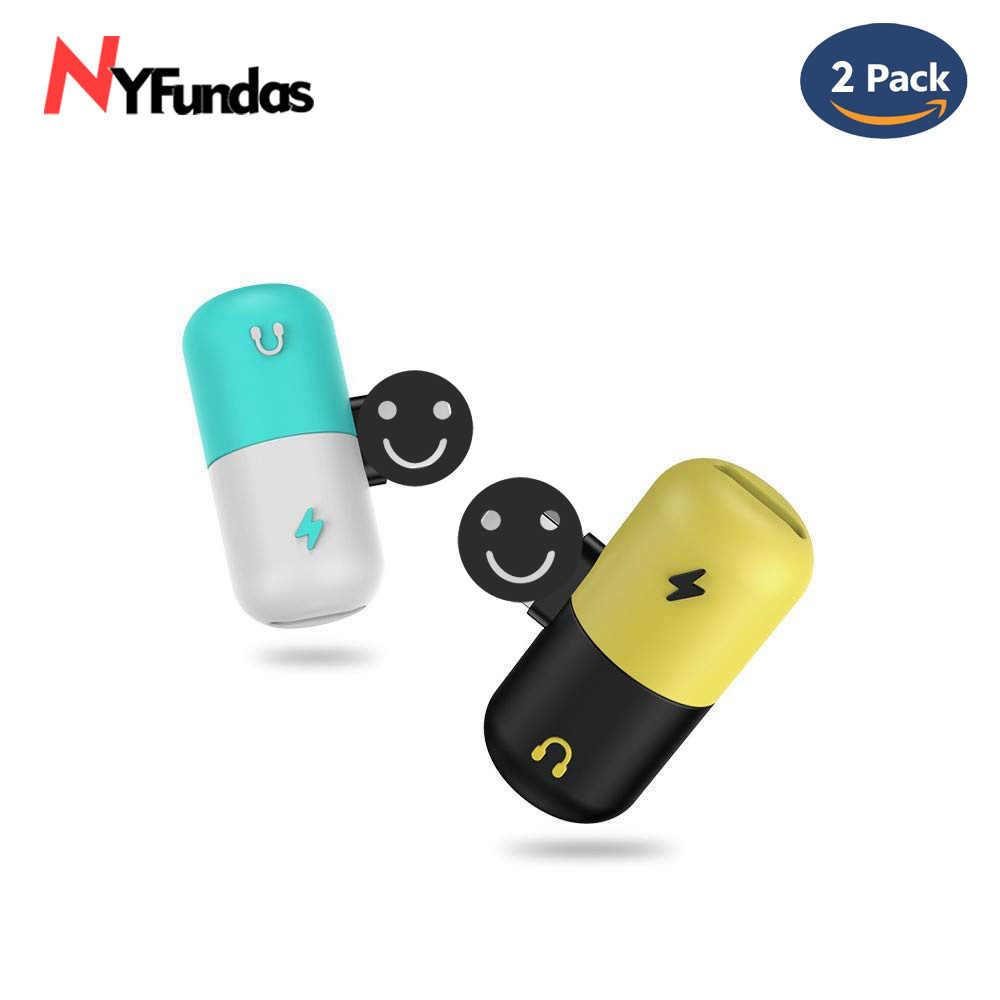 NYFundas 2PCS Dual Audio Charging Adapter For iPhone X 7 8 Plus 10  Headphone Converter for Earphone Audio USB Charger Splitter