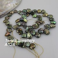 New Free Shipping A528 Nice Green Color Fresh Water Pearls Size:7 8mm Length15.5inch.New Shaper of Fresh Water Pearls Wholesale.