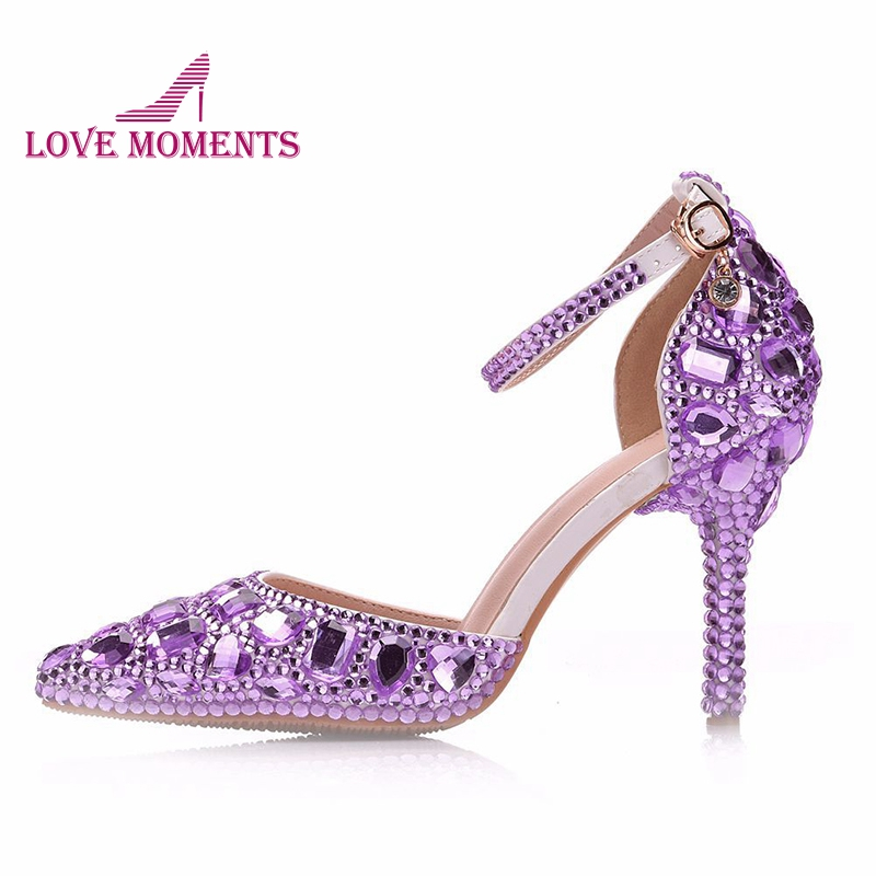 2019 Fashion Rhinestone High Heels lavender Crystal Handmade Wedding Party Shoes Pointed Toe Ankle Straps Concert