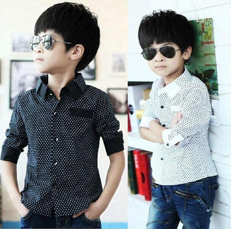 Fashion Kids Boys Formal Shirt Plain Long Sleeved Polka