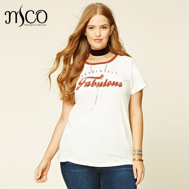 3d134a5f79b Basic Summer Short Sleeve White T-shirt Plus Size Plus Size Fabulous  Graphic Print Tee Casual 5XL 6XL Ultimate Easy Women Top