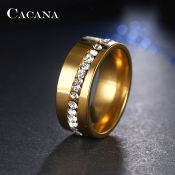 Stainless Steel Ring for Women Jewelry Rings Women Jewelry Ring Size: 11 Main Stone Color: Gold