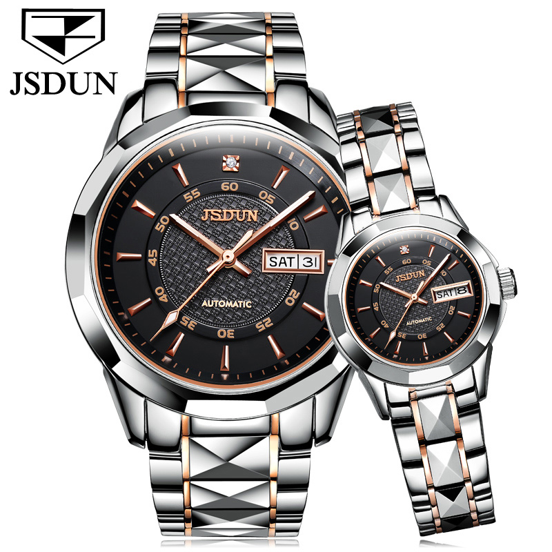 JSDUN Couple Mechanical Watch Automatic Wristwatch Luxury Brand Men Watches Sapphire Waterproof Auto Date Female Steel Watches