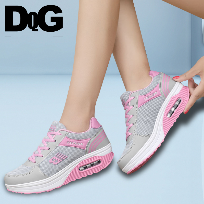 DQG 2018 New Sneakers Spring Casual Flat Platform Women Shoes Lace Up Breathable Walk Shoes beffery spring summer genuine leather casual sneakers women flat breathable shoes fashion lace up shoes women platform shoes