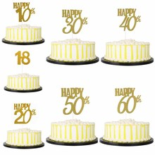 CMGBOBP Happy 18/20/30/40/50/60th Birthday Wedding Anniversary One Cake Topper Glitter Gold Number 1st Decoration