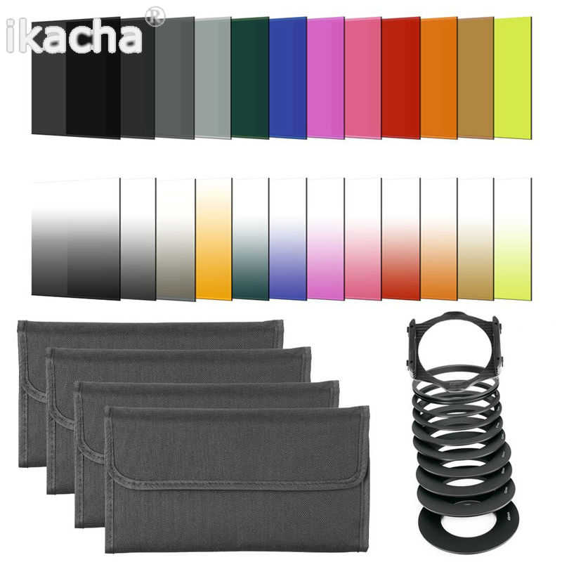 41 in1 24pcs Color Filter +4 Cases+49 52 55 58 62 67 72 77 82mm ring Adapter+1 holder+Wide-Angle Holder+lens hood for Cokin P