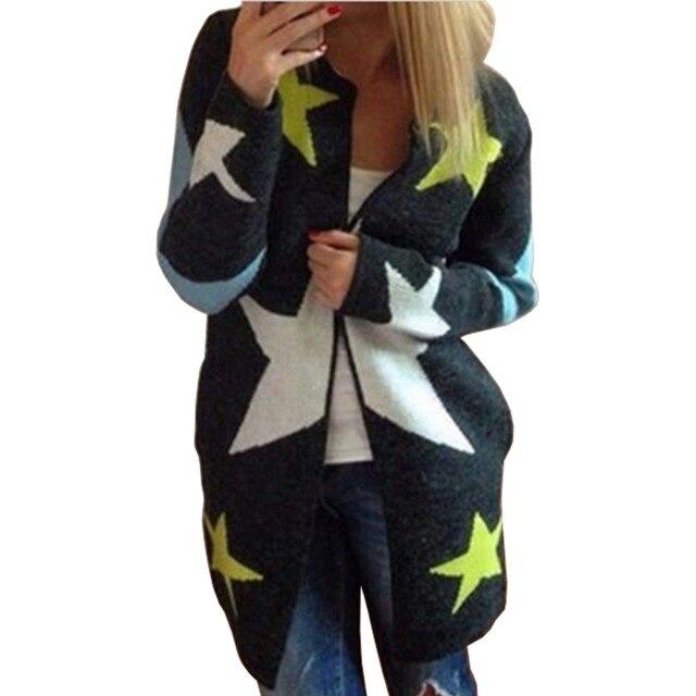 Осень Кардиганы Звезды Pattern Печати Повседневная Мода Женщины Длинные Свободные Свитера Теплый Трикотаж Кардиганы С Длинным Рукавом Теплые Outwears