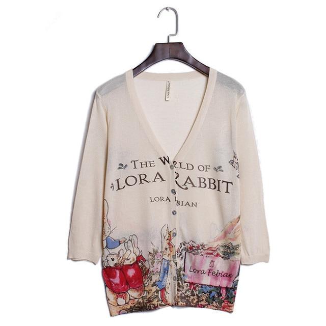Осень тонкий женщины 2016 V-Образным Вырезом печатных вязаный кардиган Мода Тонкий свободные свитера Женский Кролик милый кардиган Бесплатная доставка