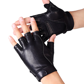 Spring Men Leather Driving Gloves Black Antiskid Fingerless Mittens Sheepskin Tactical Gloves Outdoor Fitness Dance Glove AGB648 1
