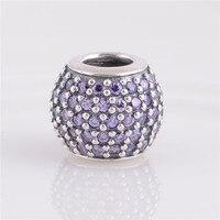 Encaja Marca Encantos de la Pulsera 925 de Plata Encantos purpúreo claro Rhinestone Crystal Silver beads Mujeres DIY Joyería Envío de La Gota