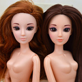 New 3D Supersize Olhos Nu nua boneca de Brinquedo/12 Móveis Conjunta/longo Stright Cabelo Encaracolado Pele Branca Para Barbie Doll Presente Do Xmas