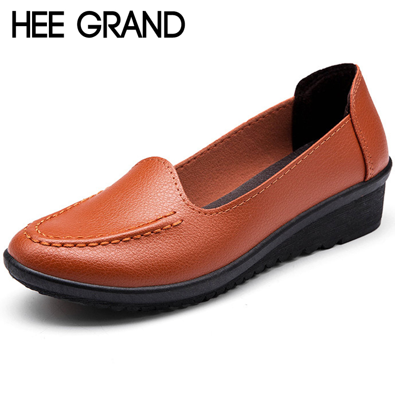 HEE GRAND Pu Leather Shallow Flats Loafers Casual Slip On Shoes Woman Summer Mother Shoes Flats 3 Colors Size 35-40 XWD6710 hee grand breathable casual woman shoes air mesh candy color woman flats loafers comfortable slip on shoes size 35 40 xwc1181
