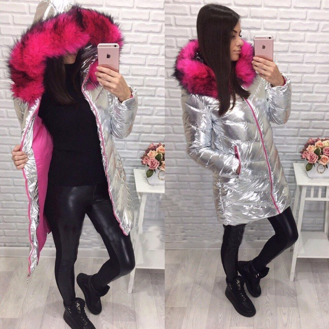 Silver Surface Large Faux Fur Collar 2017 Fashion Thick Cotton Padded Winter Women Coat Winter Jacket Female Parka Overcoat