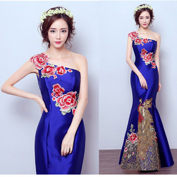 modern traditional chinese style gowns wedding dress long mermaid red qipao  cheongsam blue for women plus 4af80169a953
