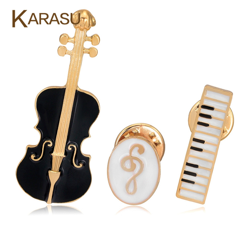3Pcs Set Luxury Gold Plated Brooches For Women Black Violin White Piano Note Brooch Pins Fashion