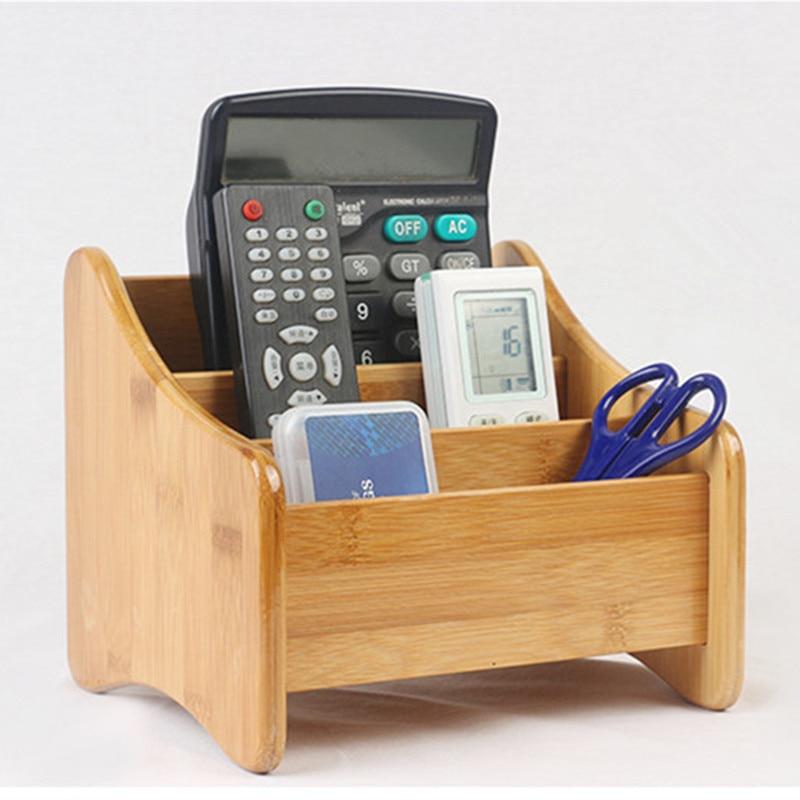 Bambus Skladovací box 3 sloty stolní dekor dálkové ovládání držák víceúčelové Sundries papírnictví make-up kosmetický organizér