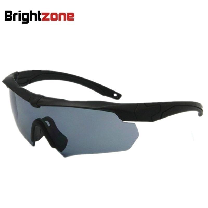 Brightzone US Military Goggles, Polariserade Ballistic 3, 4 eller 5 objektiv, Army Solglasögon med Original Logo Mäns Tactical Eyeshield