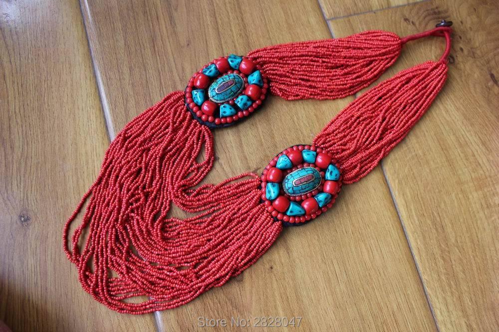 NK202 Tibet Ethnic Jewelry Flower Pendant Necklace Handmade Nepal Multi Rows Mini Beaded Necklace