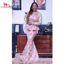 Neue Sexy Meerjungfrau Kleider Für Besondere Anlässe Lange Ärmel Rundhalsausschnitt Nigerianische Spitze Abendkleider 2017 Personalzied Prom Kleid