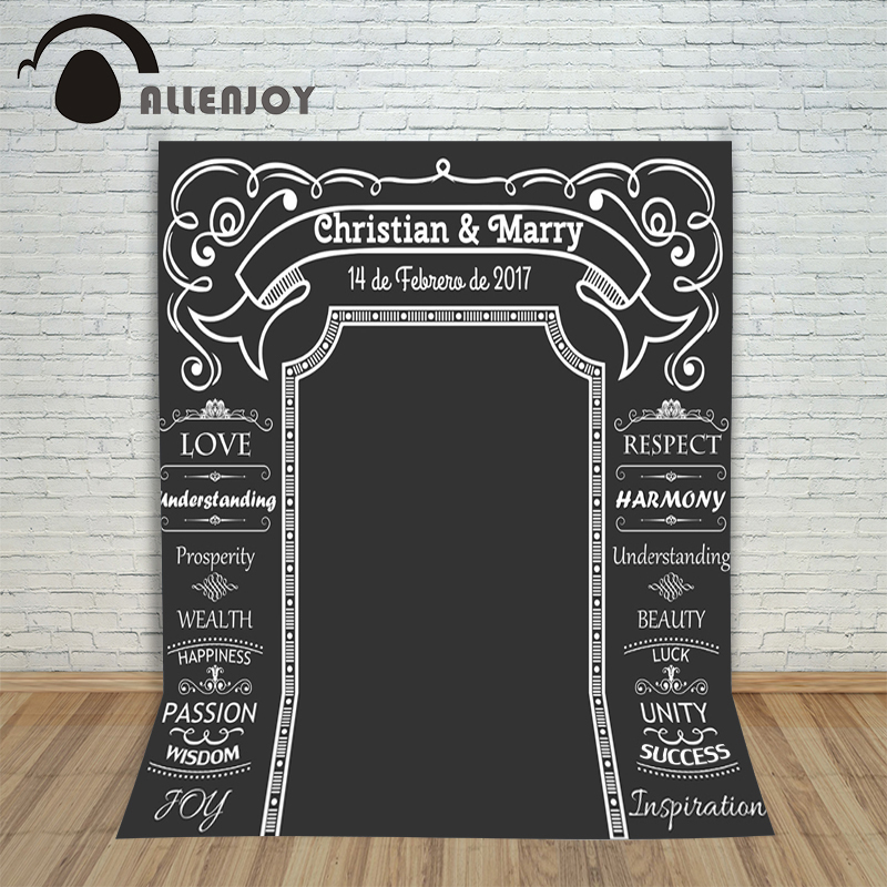 Allenjoy DIY Wedding Background Idea Chalk Archway backdrop chalkboard Custom name date backdrop photocall Excluding bracket allenjoy diy wedding photography background romantic love wood board custom name date phrase backdrop photocall