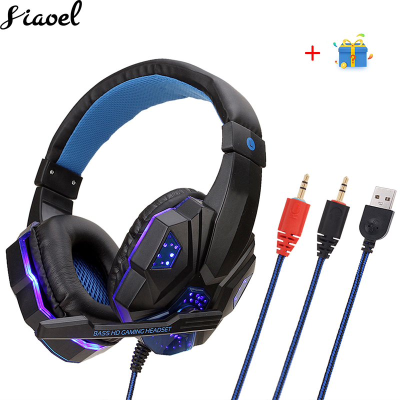 Headphone With Microphone For Computer Gaming Headset LED Light Stereo Earphone Game Headsets For PC Computer