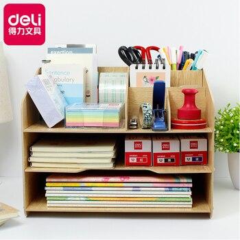Wooden Simple DIY Bookshelf Creative Desk Stationery Organizer Office Supplies Multi-function Combination Magazine Holder Rack digital clock
