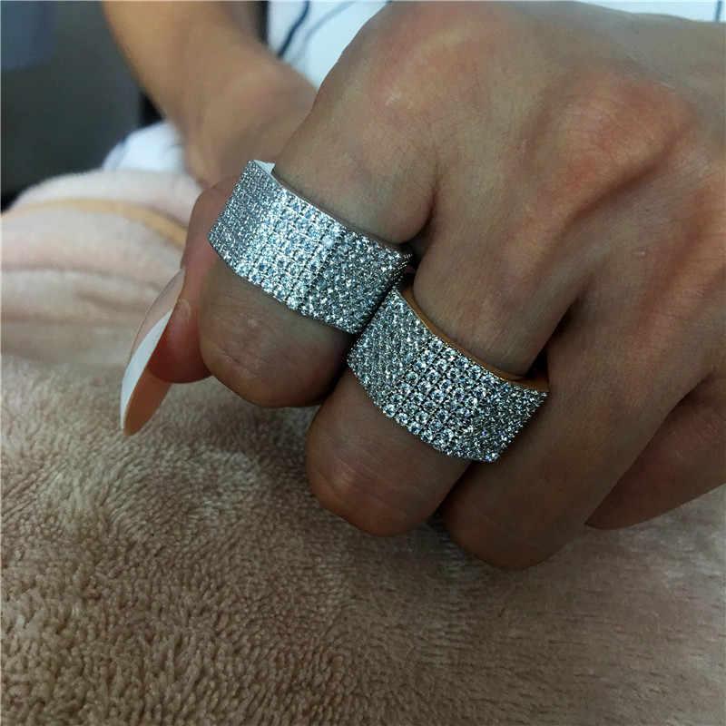 Bague de luxe choucong 925 en argent sterling micro pave AAAAA cz bagues de fiançailles pour femmes hommes Dubai bijoux de fête