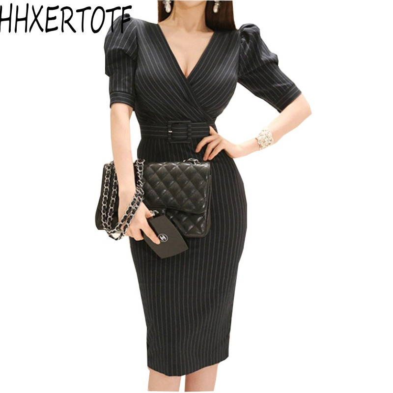 Summer Black Striped Short Sleeve Bodycon Office <font><b>Dress</b></font> <font><b>2018</b></font> Women Formal <font><b>Sexy</b></font> V Neck Sheath Pencil Sashes <font><b>Work</b></font> <font><b>Dress</b></font> image