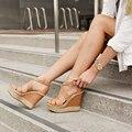 Коричневый Клинья Обувь Толщиной Платформа Criss Cross Ремешок Женщин Сандалии 2015 Открытым Носком Летние Сандалии Веревки Пятки Сделано На Заказ
