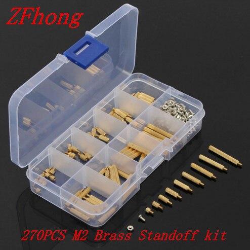 270 шт. m2 мужчин и женщин Brass Standoff Шурупы Гайки Ассортимент Комплект DIY инструмента с коробкой