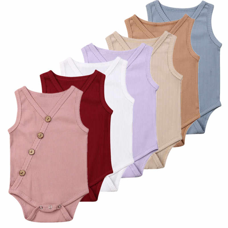 Casual Summer Newborn Baby Bodysuits Clothes Cotton Solid Stripe Toddler Kids Baby Boys Girls Sleeveless Jumpsuit Outfit Costume