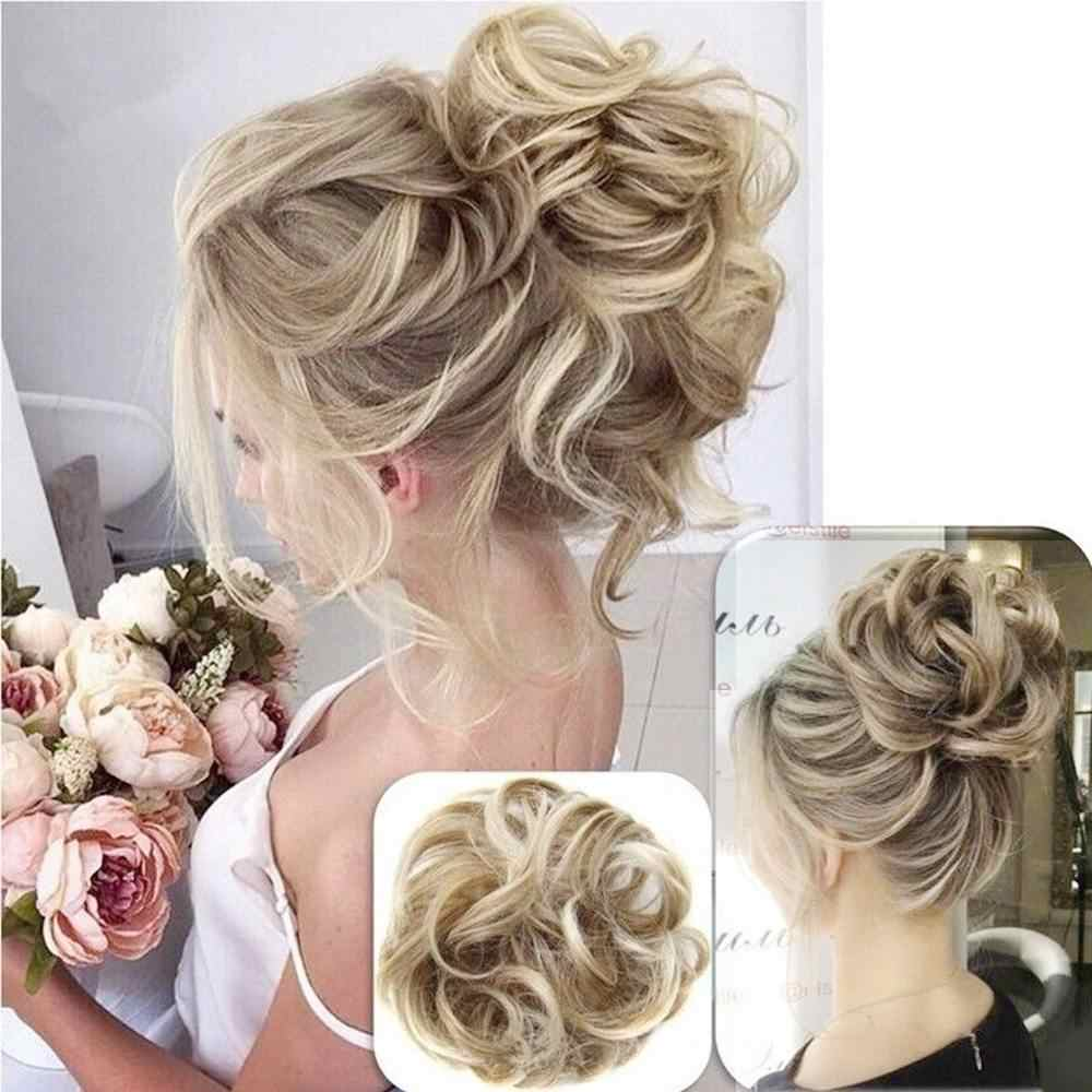Elegant Women Messy Scrunchie Chignon Hair Bun Fluffy Hair Band Rope Synthetic Hair Extension braiders Wig Styling Tools