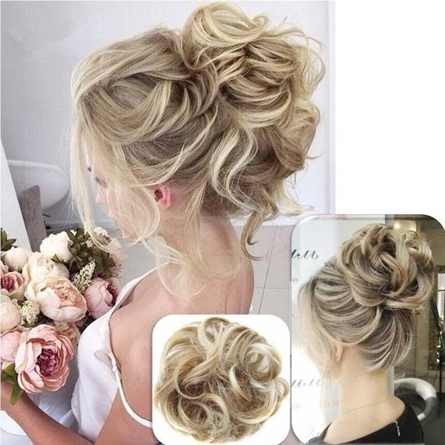 Elegant Women Messy Scrunchie Chignon Hair Bun Fluffy Hair Band Rope Synthetic Hair Extension Braiders Wig