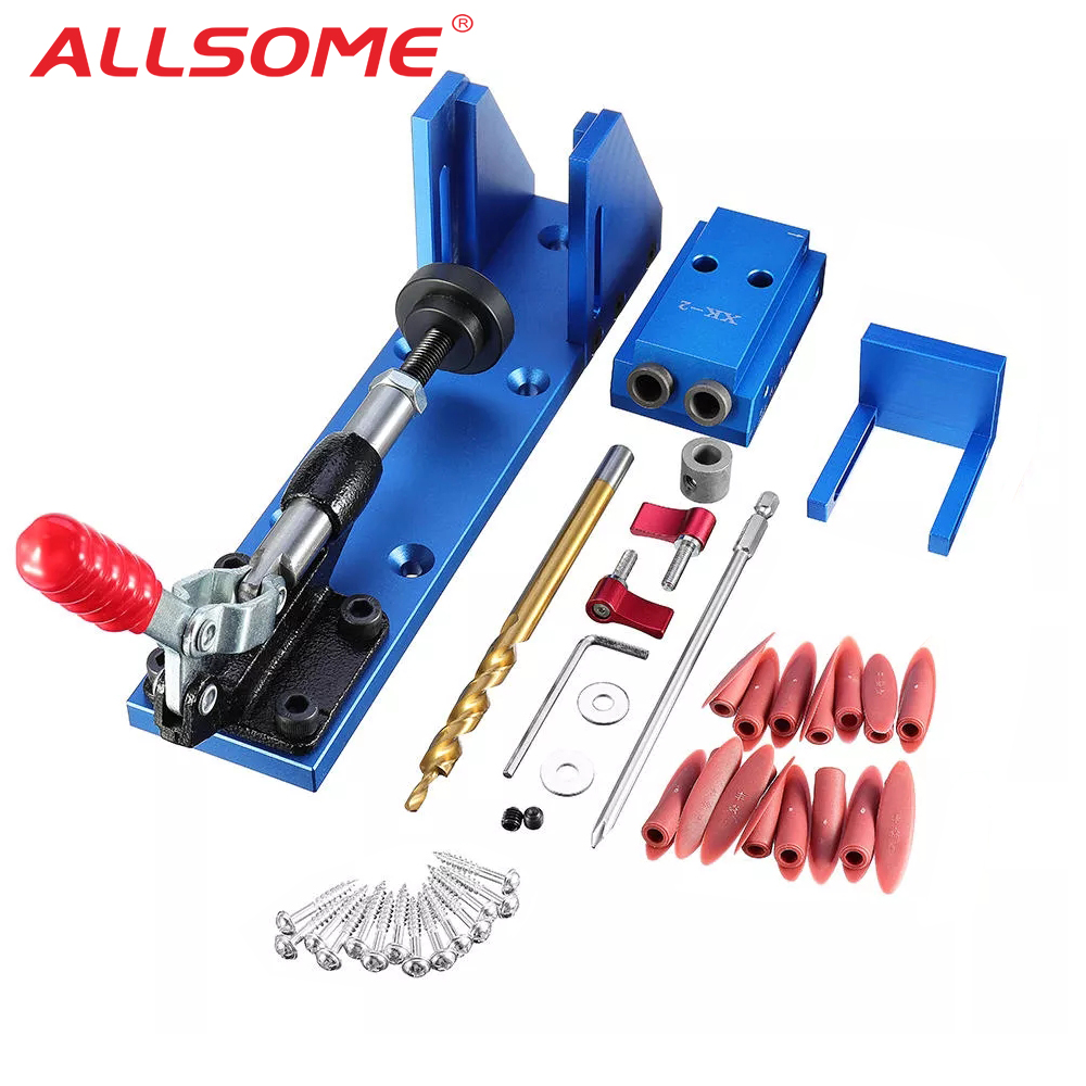 ALLSOME Portable Pocket Hole Jig Kit System With PH1 Drill Bit Set WoodWorking